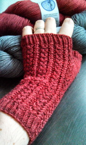 Fruit loop gloves in Madeline Tosh sock